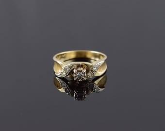 14k Retro Diamond Textured Criss Cross Engagement Ring Gold
