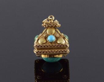 18k Victorian Turquoise Ornate Locket Watch Fob Pendant Gold
