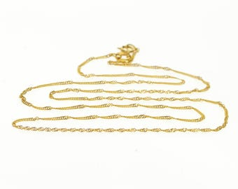 """14k 1.1mm Pressed Foxtail Fancy Link Chain Necklace Gold 17.9"""""""