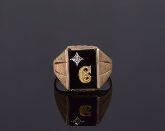 10k Black Onyx Diamond C Initial Textured Mens' Ring Gold