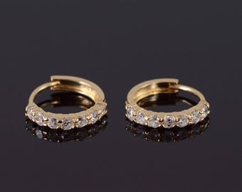 14k Cubic Zirconia 7 Stone Hoop Earrings Gold