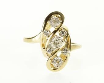 14k 0.60 Ctw Old Mine Cut Diamond Wavy Cluster Ring Gold
