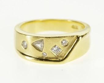 18k 0.21 Ctw Diamond Geometric Flush Set Band Ring Gold