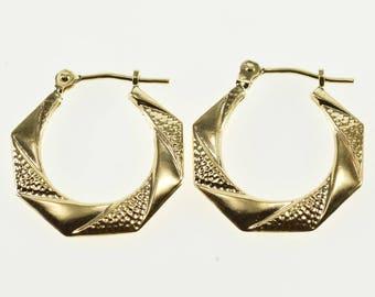 14k Patterned Twist Squared Edge Puffy Hoop Earrings Gold