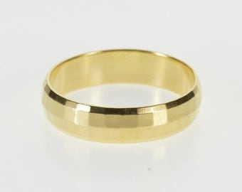 14K 5.4mm Squared Pattern Men's Wedding Band Ring Size 10.25 Yellow Gold
