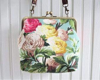 "Pink White Yellow Cottage Roses on Blue Ground Vintage Barkcloth Fabric 8"" Antique Brass Kisslock Frame Crossbody Shoulder Bag Purse"