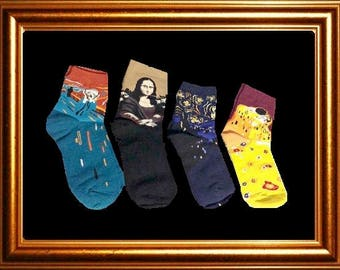Art Socks Gift Set,Starry Night,Mona Lisa,The Scream,The Kiss,Gift for Women,Crew Socks,Artist Set of 4