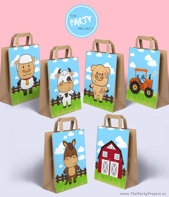 DIY PRINTABLE Old McDonald farm party bags decorations Barnyard