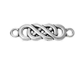 10 antique silver entwined infinity symbol connectors