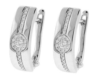 14k White Gold Earrings / Diamond Huggies - Cluster Design [#12214]