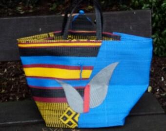 Blue And yellow Handwoven African Basket, Beach Basket, Shopping Basket, Groceries Basket, Travel Basket