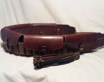 Vintage 1990's Handmade Brown Leather Hunting Bandolier with Covers - NEW