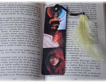 Plastified bookmark woman Angel and Devil