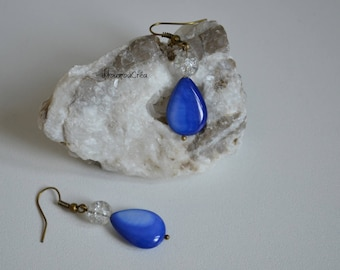 Earring Pearl blue and White Pearl