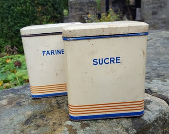 French Vintage Sucre and Farine storage tins / Sucre tin / Farine Tin / French storage tin / Vintage French tin/ Shabby Chic Tin / Metal tin