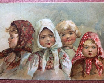 Antique Imperial Russia postcard 1908 Ethnic Russian types Children. Girls in Russian national kerchiefs. Peasant children. Artist Lebedeva