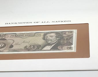 Banknotes Of All Nations Austria 1967 20 Shillings Pick 142 Carl Ritter Von Ghega  Franklin Mint Paper Money Souvenir Scrapbook Scrapbooking