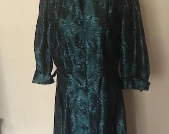 50's Dress Taffeta with Floral Design Size Medium