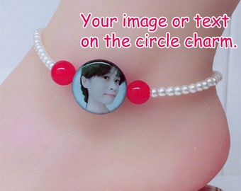 Personalized photo beaded anklet customized BC05