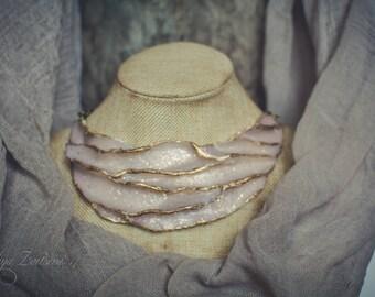 Statement necklace Bib necklace golden white necklace polymer clay necklace faux opal necklace asymmetric necklace choker necklace jewelry