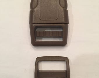 "Brown 1"" Curved Side Release Buckles and Slides"