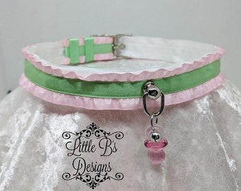 "17""-19"" Pastel Buckled Ruffle Kittenplay Petplay Collar Choker Necklace Ddlg Bdsm"