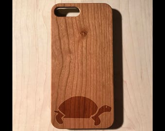 Turtle Walking Silhouette Real wood laser engraved phone case Iphone 6 6s 6s plus 7 7plus 8 8plus birthday, christmas