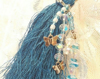 Keychain Purse Charm Tassel Crystal Beaded