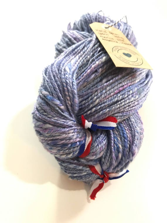 Fine hand spun and hand dyed Merino and Tussah silk and viscose art yarn with angelina glitters 103 gram
