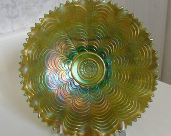 Northwood Antique Carnival Glass Green ''NIPPON'' Pie Crust Edge Bowl with Basketweave Back - Vintage Art Glass - Iridized  Glass(654)