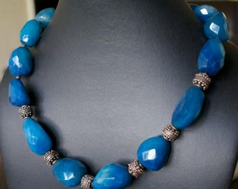 ON SALE Beautiful Chalcedony Silver Necklace