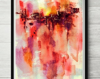 City Sunset, watercolor abstract art, red watercolor print, red art painting, modern abstract, minimalist print, bright color poster
