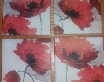 Four Ceramic Tile Coasters