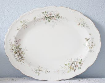 Vintage Royal Albert 'Haworth' Large Oval Serving Plate, Blossom Decor, England
