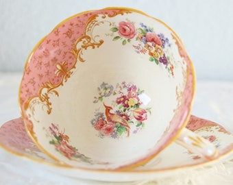 Vintage Royal Paragon Bone China Teacup and Saucer, Pink Panels, Floral and Bird of Pardise Decor, England