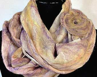 Purple and Cream Felted Scarf, Felted Wrap, Nuno Scarf/Wrap, Fashion Accessories, Gift For Her, Women's Accessories, GracefulEweFiberArts