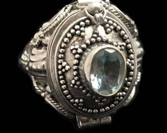 Vintage blue topaz & sterling silver poison ring - compartment ring - Bali style-size 8