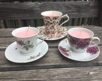 Fresia and Rose scented Tea Cup Candles