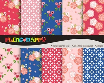 70% OFF Blue And Pink Lovely Flower Digital Papers, Lovely Flower Digital Papers Graphics, Personal & Small Commercial Use, Instant Download