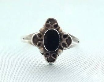 Cool Gothic Style Sterling Silver Ring with Black Onyx Stone Size 6