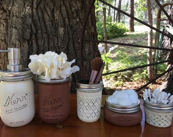 Mason jar bathroom set- mason jars- farmhouse decor- rustic bathroom set- mason jar soap dispenser-housewarming gift-wedding gift
