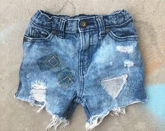 3T High Waisted Toddler Girl Custom Denim Shorts