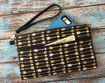 Wristlet; Black & Gold Arrow Wristlet Wallet; iPhone 7 Plus Wristlet; Cell Phone Purse; Phone and Credit Card Holder; Clutch; Phone Wallet