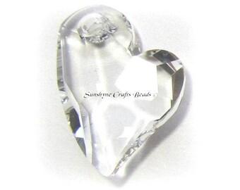 Swarovski CRYSTAL Clear 6261 17mm Devoted 2 U Heart Pendant 1 Pc - Swarovski Crystal Elements Beads