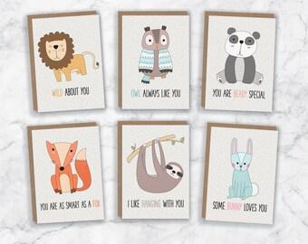 Children's Valentine's Cards - Kid's Valentine's Cards - Cute Valentine Cards - Children Valentines - Kids Valentines - Animal Valentines