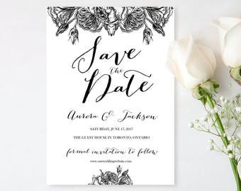 Floral Printable Save the Date Card Template - Editable Save The Date - Wedding Date Card - Black and White Save the Date Card