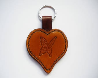 Leather heart keychain