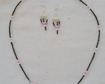 Cupcake pink necklace and earrings set