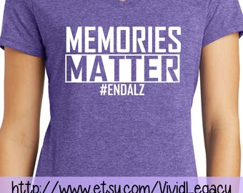 Memories Matter #EndAlz Ladies V-Neck Purple T-Shirt Alzheimer's