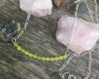 Olive Jade Necklace with 18 inch chain